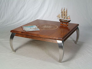 Contemporary Teak & Walnut Coffee Table